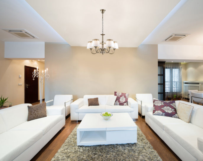 Interior of a modern spacious living room; Shutterstock ID 184910264